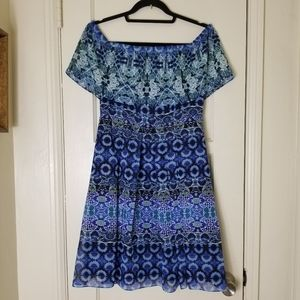 ELIZA J blue floral peasant off shoulder dress